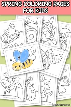 Free Printable Coloring Pages for Kids - Itsy Bitsy Fun Ladybug Coloring Page, Insect Coloring Pages, Spring Coloring Pages, Butterfly Coloring Page, Flower Coloring Pages, Mandala Coloring, Coloring Sheets For Kids, Spring Crafts For Kids, Free Printable Coloring Pages