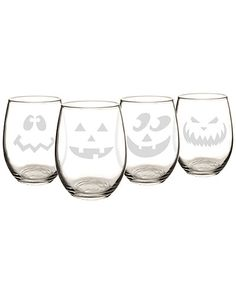 Cathy's Concepts Set of 4 Jack-O-Lantern 21oz Stemless Wine Glasses / Gilt