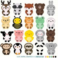 Cute Animal Clipart Set: Mega-pack of 20 cute animal vector graphics (woodland, farm, zoo, backyard), commercial or personal use. HI RES