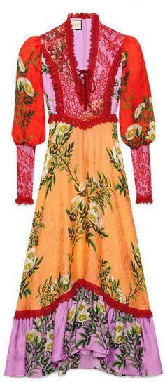 Gucci Robe à imprimé branches de rose