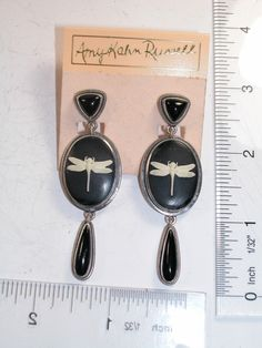 AMY KAHN RUSSELL Dragonfly Black Onyx Sterling Silver POST ONLY Earring