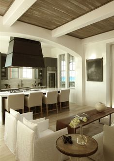 Modern White Kitchen and Dining Area