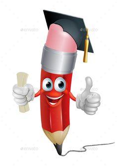 Pencil mascot graduate man cartoon. A pencil cartoon man with diploma or certificate wearing a graduation cap and doing a thumbs u