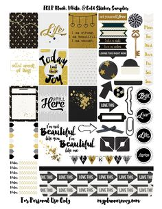 Black, White, & Gold Sampler | My Planner Envy