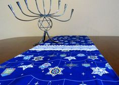Retro Mid Century Atomic Style Hanukkah Table Runner, Hand Made by Tiki Queen