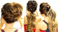 Everyday braided hairstyles for sports - messy bun updo + ponytail