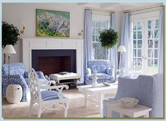 Meg Braff designed living room as featured in House Beautiful Magazine, October Seating arrangement in front of the fireplace Coastal Living Rooms, Home And Living, Living Room Decor, White Living Rooms, Blue Rooms, White Rooms, White Walls, Blue And White Living Room, French Country Living Room