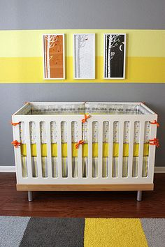 No nursery for me I just love the yellow stripes on the grey wall.