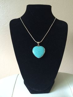 Turquoise Heart Necklace Pendant by TheJewelryBoxe on Etsy, $10.00