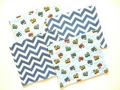 Flannel Burp Cloth Set - Trains Flannel - Baby Boy Cloth Set - Baby Shower Gift…