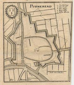 Purmerend, een antieke plattegrond van Purmerend in Nederland door Merian uit 1660ca