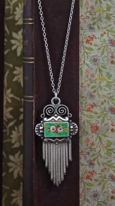 Victorian Sterling & Enamel Pendant Necklace, Green with Pink Roses, Antique Bohemian Boho Bridal Jewelry, Fringed Tassel Pendant by TheEdenCollective on Etsy https://www.etsy.com/listing/173959109/victorian-sterling-enamel-pendant