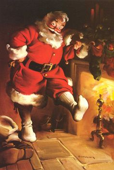 In famed Chicago commercial illustrator Haddon Sundblom painted a jolly, red-garbed Santa Claus for the Coca-Cola Company's 1931 advertising campaign. His depictions of the Coca-Cola Santa, formed America's perception of what Santa Claus looks like. Vintage Christmas Cards, Retro Christmas, Vintage Holiday, Christmas Art, Winter Christmas, Xmas, Hallmark Christmas, Christmas Photo, Christmas Scenes