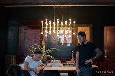 cityhomeCOLLECTIVE, Cody Derrick designed, mid century modern, chandelier, dining room, dark walls