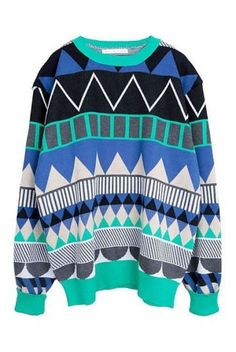 Green Long Sleeve Geometric Print Pullovers Sweater pictures