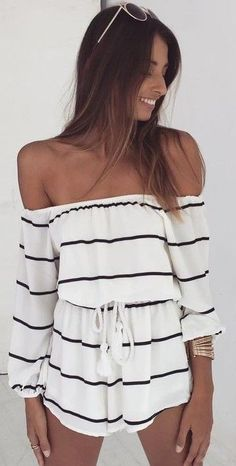 #summer #fashion / off the shoulder playsuit