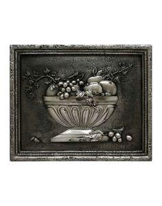 "Fruit Bowl 3 Backsplash / Pewter Finish. Beautiful tridimensional backsplash with italian style. Dimension: 18.5"" x 15""  Buy at: http://www.designtuscany.com/store/fruit-bowl-3-backsplash-mural-pewter.html"