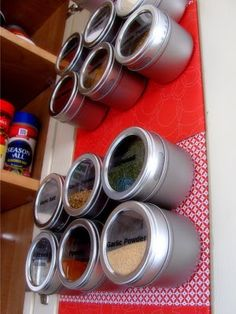 Magnetic spice rack - we put ours on the side of the fridge.