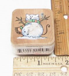 KITTY CAT SNOWMAN BY STAMPENDOUS NESTLINGS RUBBER STAMP #Stampendous #rubberstamp
