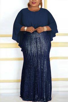 Evening Dresses With Sleeves, Blue Evening Dresses, Casual Dresses, Fashion Dresses, Blue Fashion, Style Fashion, Bat Sleeve, Pattern Fashion, Chiffon