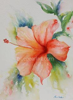 Easy Flower Painting, Flower Art, Flower Paintings, Cactus Flower, Flower Water Color Painting, Water Paint Flowers, Flower Colors, Art Flowers, Flower Prints