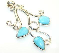 $56.75 Fabulous Larimar Sterling Silver Pendant at www.SilverRushStyle.com #pendant #handmade #jewelry #silver #larimar