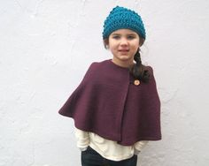 Girls Wool Cape in Eggplant Purple Cape Capelet by SewnNatural