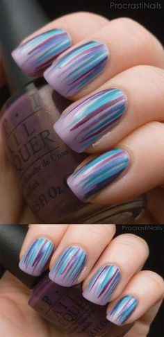 Striped Nail Art Ideas - Peacock Waterfall Mani- Striped Nail Designs And Ideas On Pinterest, Easy and Simple Tutorial For How To Use Nail Tape, And Tricks and Tips For Amazing And Beautiful Striped Nail Designs That Are DIY Using Scotch Tape. The Best Nail Art Stripes Designs and Nail Designs With Striping Tape. How To Make Stripes On Nails Without Tape Is Covered In A Simple Tutorial And Color Combos And Designs That Are Simple DIY Ideas You Can Do At Home. Try Some Sparkle Or A Black and…