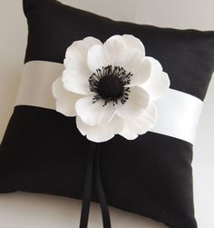 Couture Clay - Made to Order Satin Ring Pillow with Clay Anemone Flower Pillow Crafts, Fabric Crafts, Sewing Crafts, Sewing Projects, Felt Flowers, Fabric Flowers, Ring Pillows, Throw Pillows, Custom Pillows