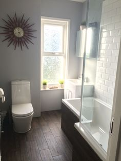 Wood effect floor tiles white metro tiles for bathroom. Dulux chic shadow