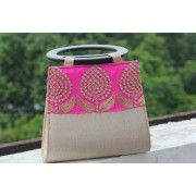 Spangled Silver with Fuchsia Pink Party Handbag