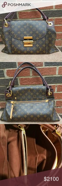 Louis Vuitton Olympe in Bordeaux leather-Monogram Authentic, meticulously cared-for by 1 owner, this statement bag by Louis Vuitton was purchased in December, 2012. Made in France, it's in very good used condition, comes with dust bag, care guideline booklet and tags original to the bag. There is a rear pocket, and front flap, secured by a charni?re lock.  The lining is burgundy suede cloth. Natural leather trim has darkened some with age, and there are some small scratches that've occurred…