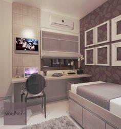 Quarto de menina com destaque para a escrivaninha e painel da TV. Dream Rooms, Dream Bedroom, Small Rooms, Small Spaces, Small Desks, Single Bedroom, Condo Living, Suites, New Room