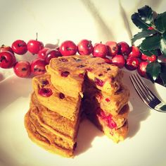 Love Grain Cranberry Pumpkin Pancakes - a perfect breakfast for lazy holiday mornings