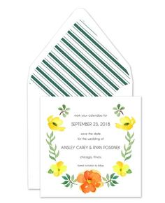 An orange and yellow floral watercolor frame borders your personalized text on this spring-inspired flat card.