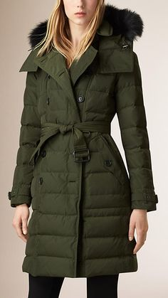 Olive Down-Filled Coat with Fur Trim - Image 1