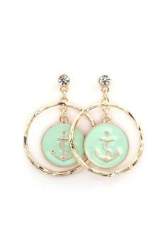 Anchors away sea foam green earrings