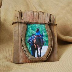 Reclaimed wood and horseshoe photo frame