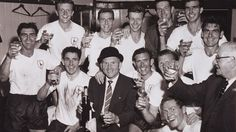 Bill Nicholson and the players celebrate after clinching the title - April, 1961