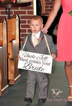 Wedding Sign | Uncle Here Comes Your Bride | Here Comes the Bride Wedding Sign…