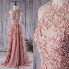Eleagant Lace High Neck Long bridesmaid Dresses for wedding Party