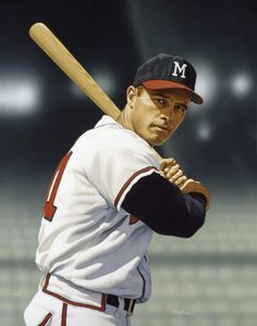 """""""Eddie Mathews"""" 27x21, Collection of the National Baseball Hall of Fame & Museum by Arthur K Miller, 2004."""