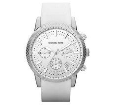 Michael Kors Men's Chronograph Scout White Silicone Strap Watch MK8284