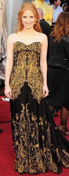 Jessica Chaistan at the Oscars Alexander McQueen.