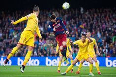 Lionel Messi of FC Barcelona heads the ball during the La Liga match between FC Barcelona and Sporting Gijon at Camp Nou on April 23 2016 in...