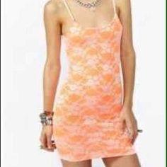 New Nasty Gal Neon Orange Lace Bodycon Dress Xs S