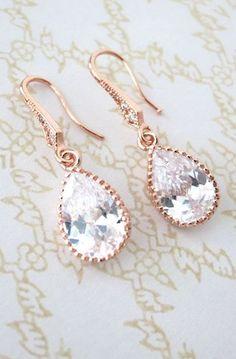 Rose Gold Cubic Zirconia Teardrop Earrings