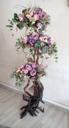 Купить Напольная композиция на коряге из искусственных цветов и растений - сиреневый, фиолетовые цветы, интерьерное украшение