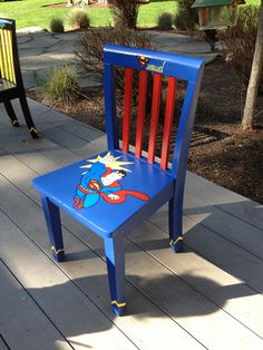 Superman chair. Hand painted.