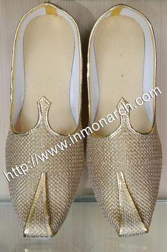 c02c454121c6 Golden wedding designer mojari made in golden color brocade fabric.  InMonarch · Indian wedding shoes for men